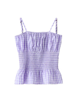 'Martha' Ruched Gingham Cami Top