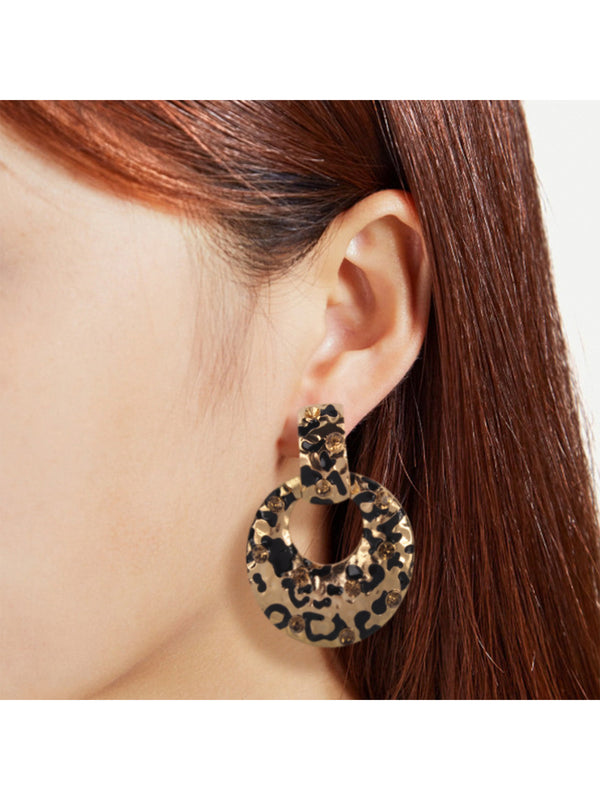 'Raddy' Leopard Print Drop Hoop Earrings