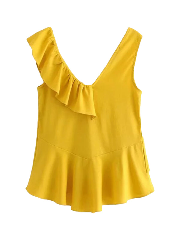 'Rona' Single Ruffled Flare Sleeveless Top