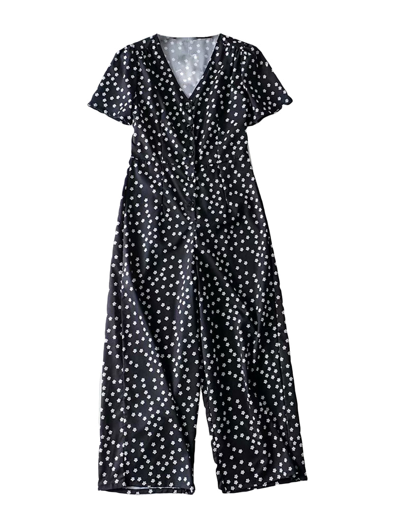 'Pipi' Floral Buttoned Short Sleeve Jumpsuit