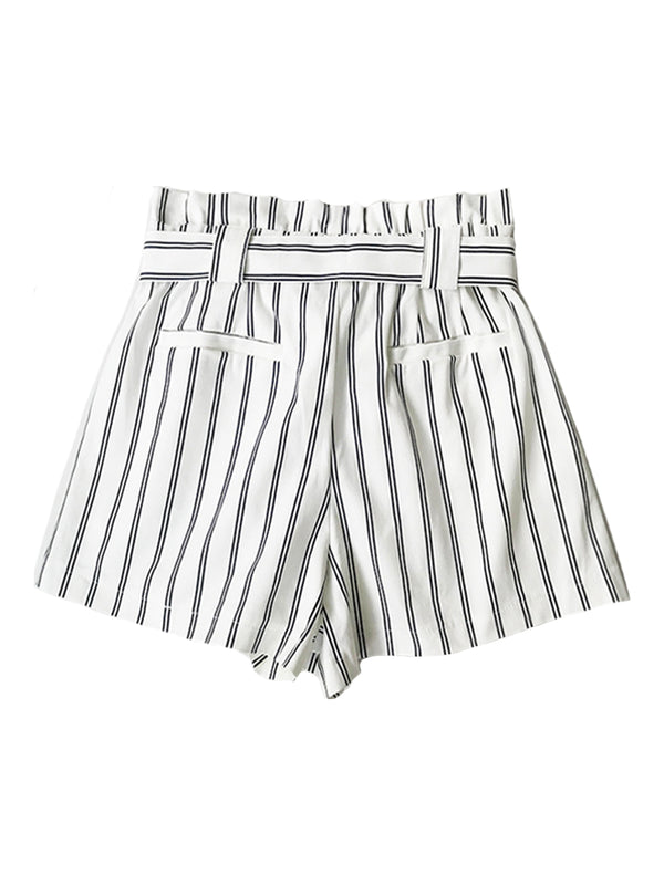 'Clara' Striped Tied Front Elastic Waistband Shorts
