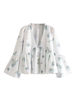 'Jerry' V-neck Buttoned Floral Flare Top