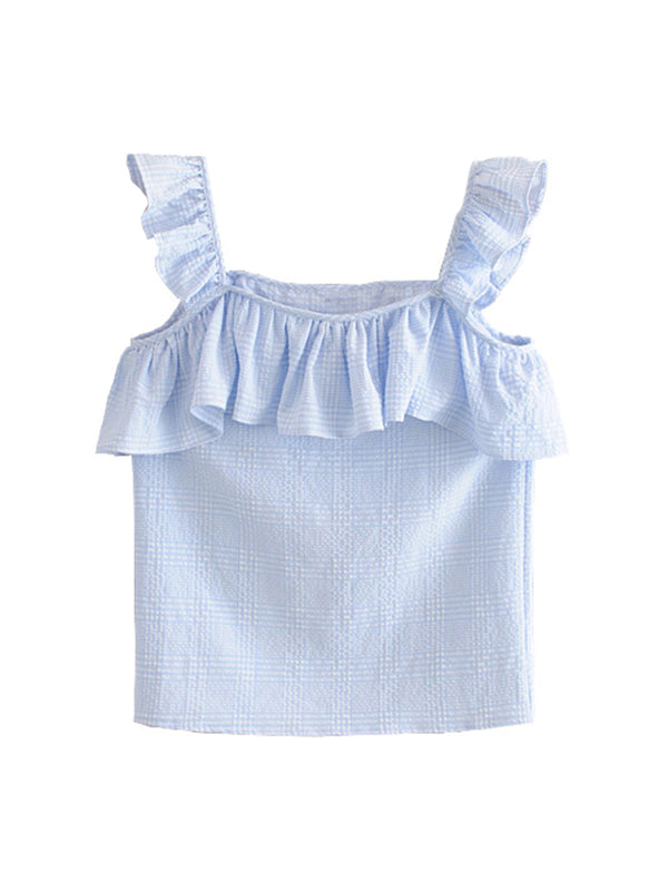 'Sheer' Seersucker Gingham Ruffled Top