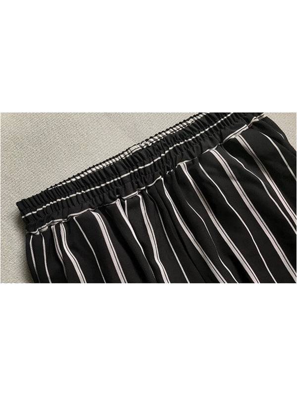 'Debby' Striped Elastic Waist Wide Leg Pants