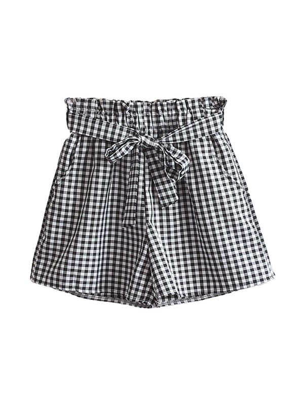 'Aileen' Checked Paper Bag Shorts (2 Colors)