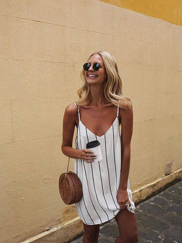 'Shan' Vertical Striped Swing Dress