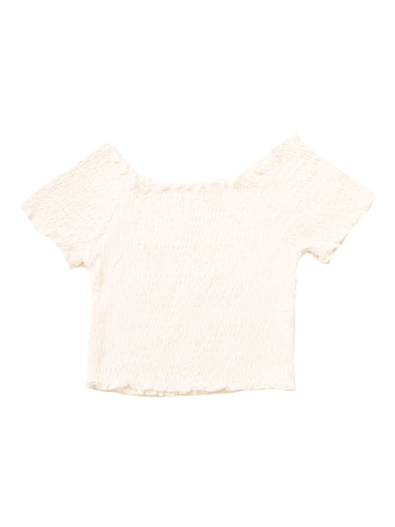 'Happy' Off Shoulder Ruched Cropped Top (12 Colors)