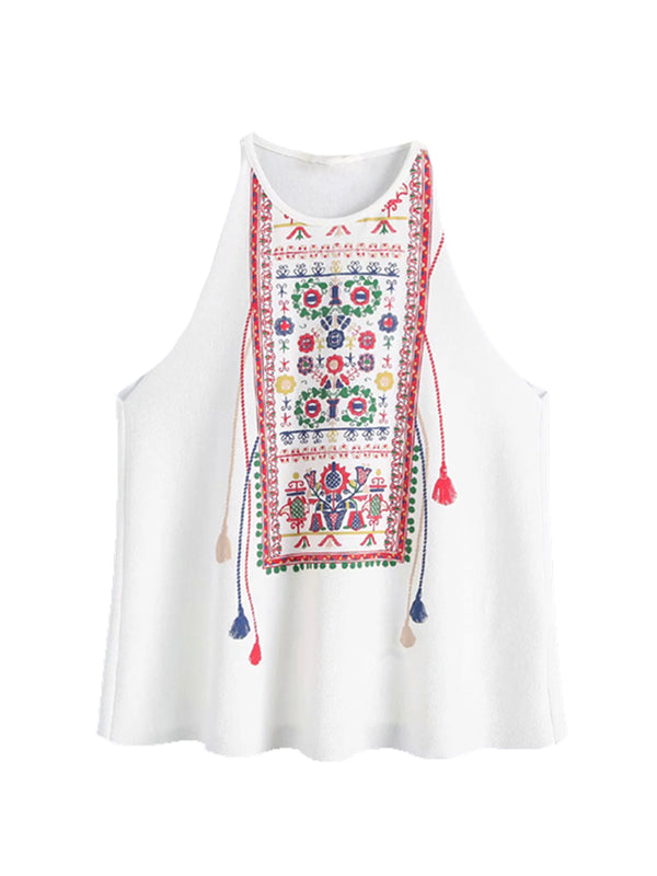 'Fun' Embroidered Sleeveless Tassel Top