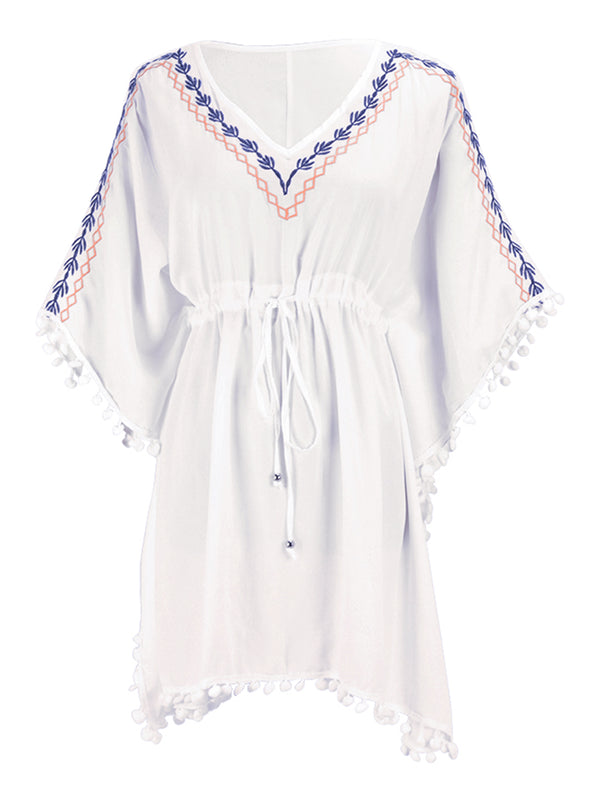 'Bloom' Embroidered Pom Pom Beach Cover-up