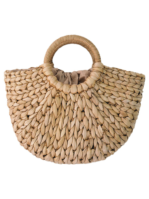 'Madison' Rattan Half Moon Bag