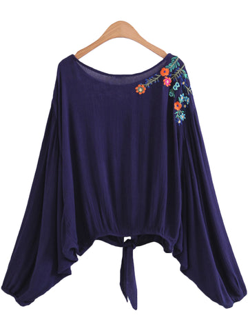 'Jody' Embroidered Flare Knotted Jersey Top
