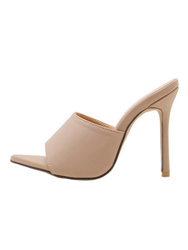 Goodnight Macaroon 'Venchy' Beige Open Toe High Heeled Sandals Side