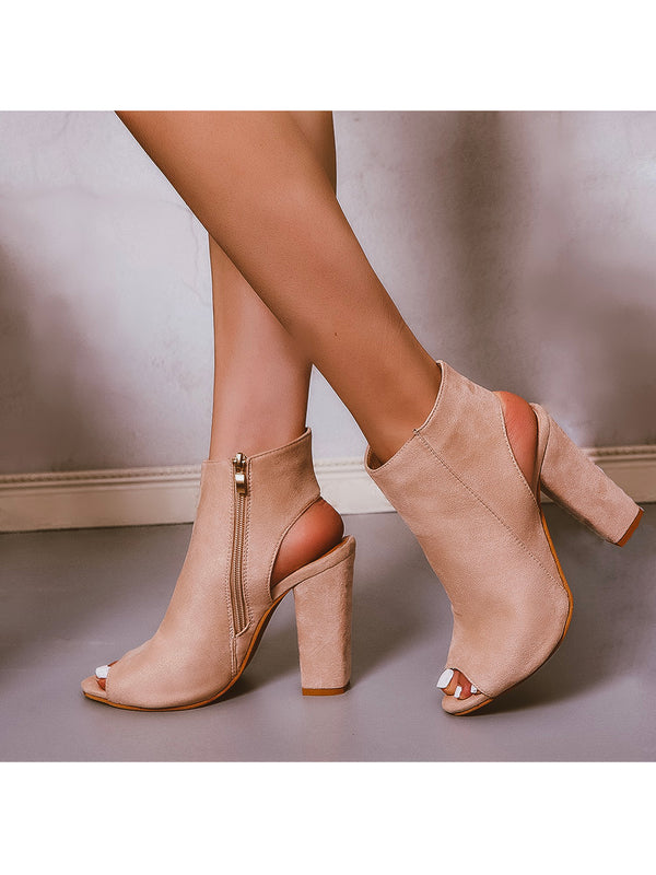 Goodnight Macaroon 'Cordy' Peep Toe Chunky Heel Mules Side