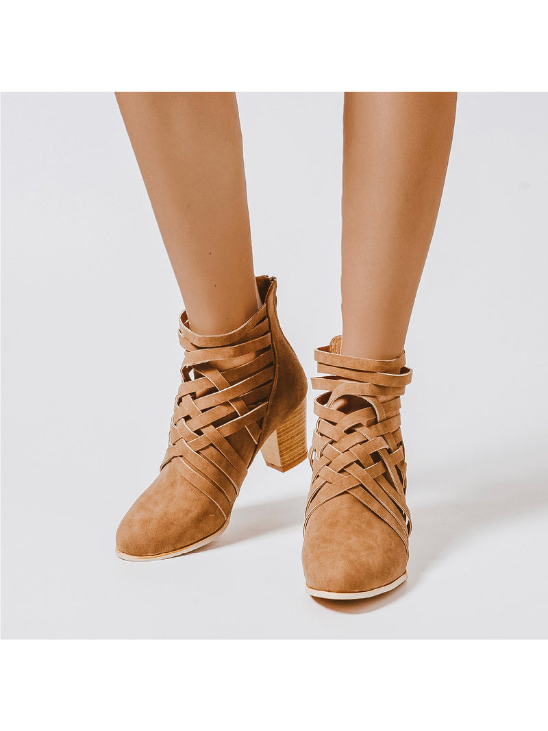 Goodnight Macaroon 'Manni' Criss Cross Strap Chunky Heel Boots Brown Front
