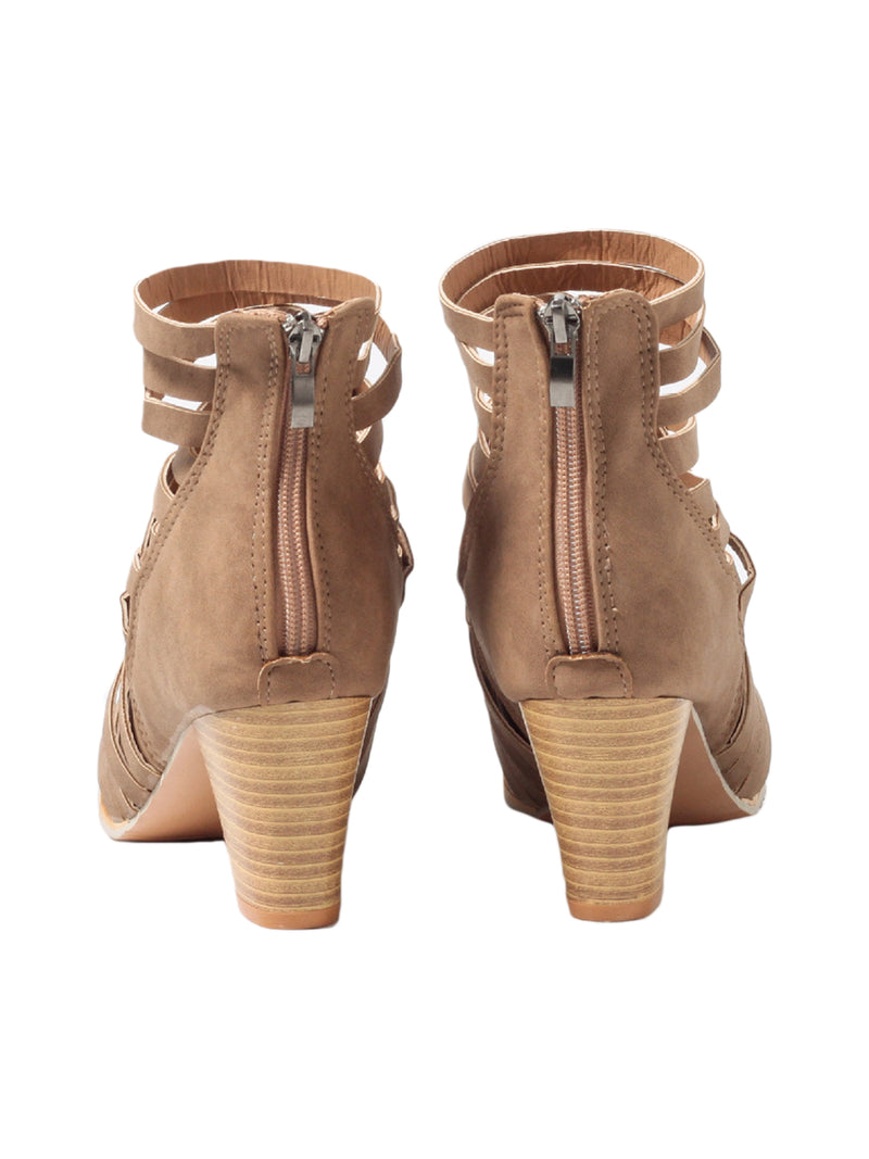Goodnight Macaroon 'Manni' Criss Cross Strap Chunky Heel Boots Brown Back