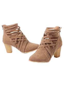 Goodnight Macaroon 'Manni' Criss Cross Strap Chunky Heel Boots Brown Pair