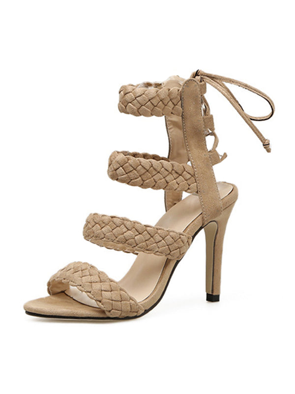 Goodnight Macaroon 'Katherine' Braided Strap High Heel Sandals Side