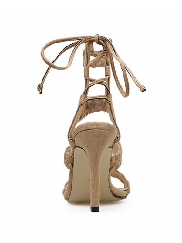 Goodnight Macaroon 'Katherine' Braided Strap High Heel Sandals Back