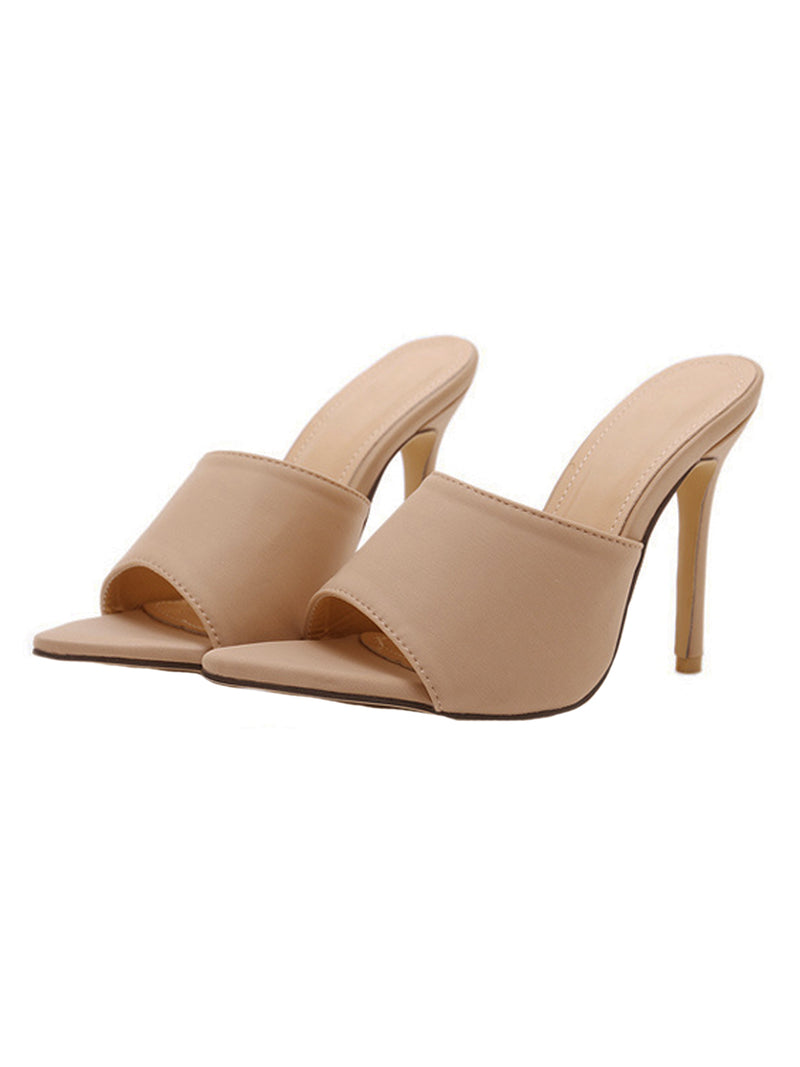 Goodnight Macaroon 'Venchy' Beige Open Toe High Heeled Sandals Pair