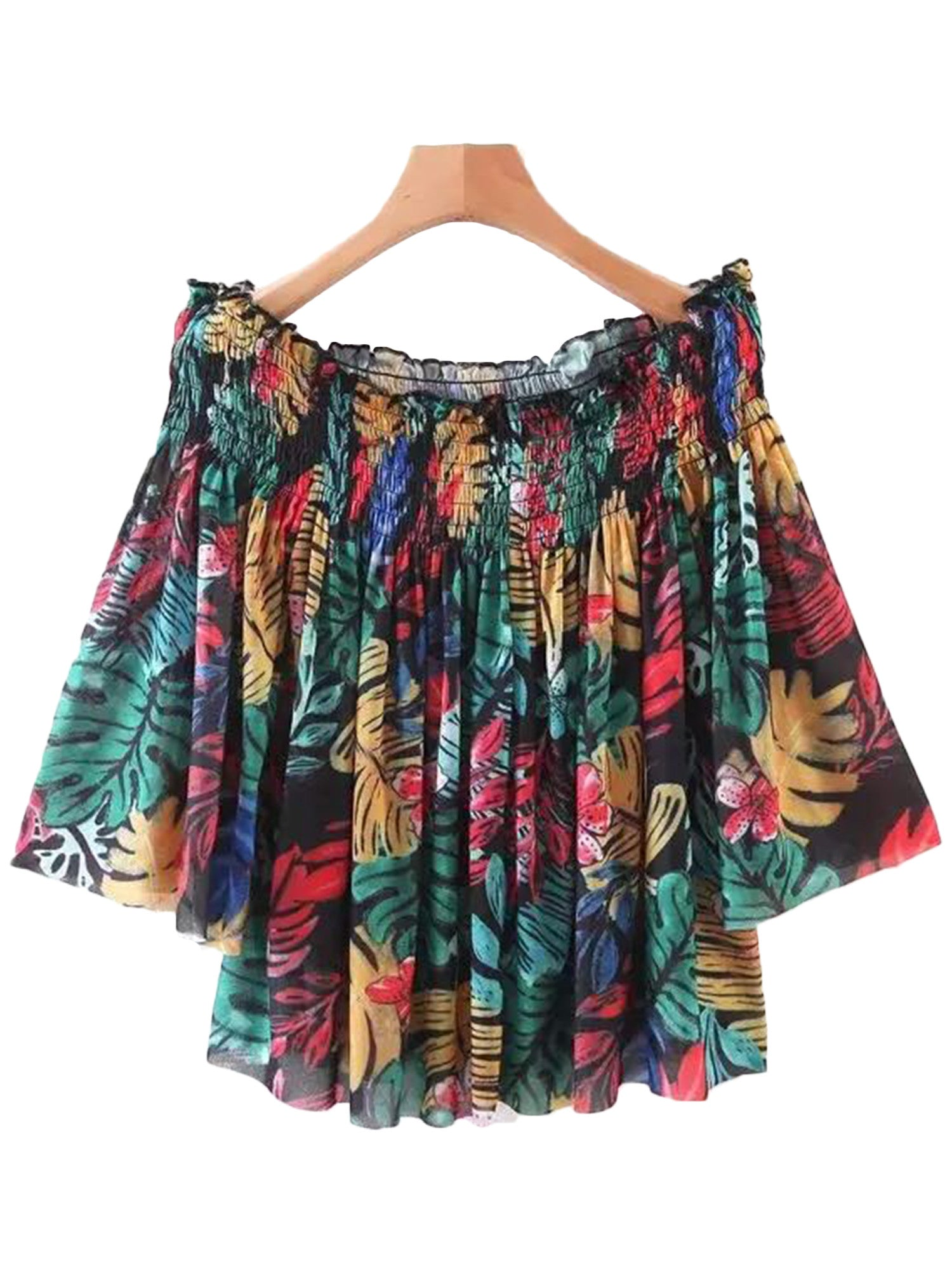 'Chelsi' Rainbow Palm Print Off Shoulder Top
