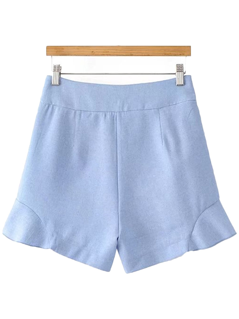 'Mildred' Baby Blue High Rise Shorts