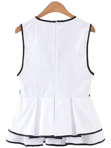 'Molly' White Peplum V-neck Vest