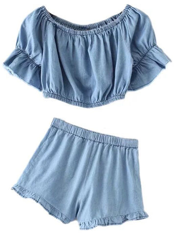 'Stella' Chambray Ruffle Frilly Co Ords