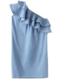 'Liesel' Chambray Side Ruffle Off Shoulder Dress