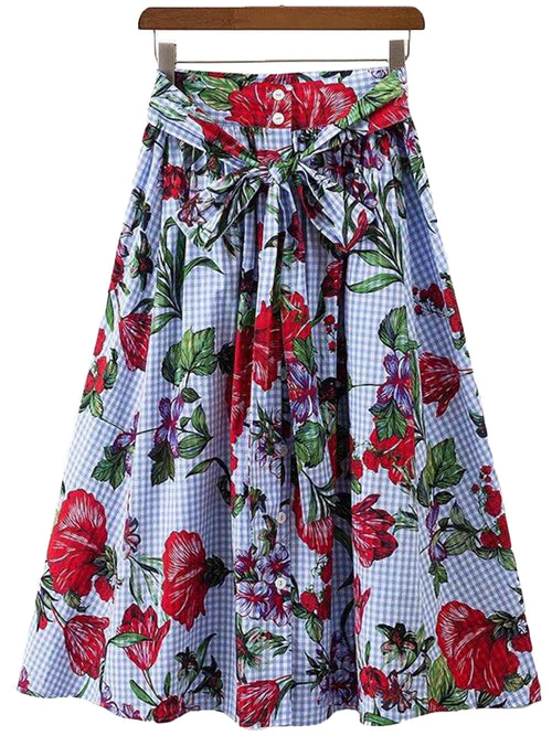 'Zena' Drawstring Floral Flare Long Skirt