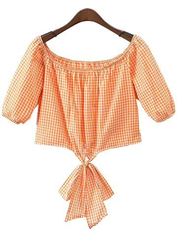 'Olivia' Gingham Off Shoulder Back Knotted Top