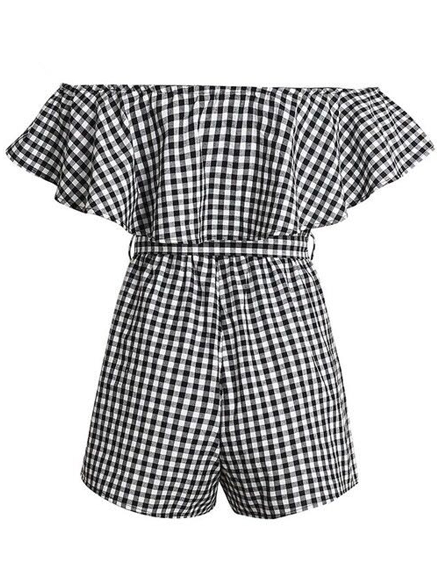 'Sheena' Plaid Ruffle Off Shoulder Romper