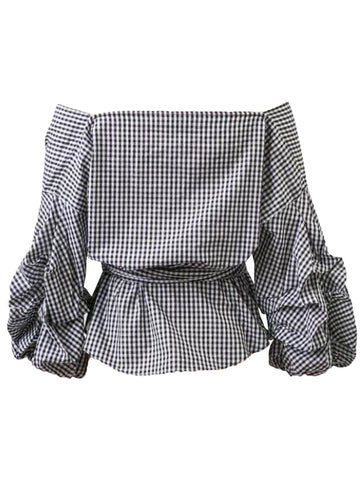 'Tess' Plaid Wrap Off Shoulder Shirt