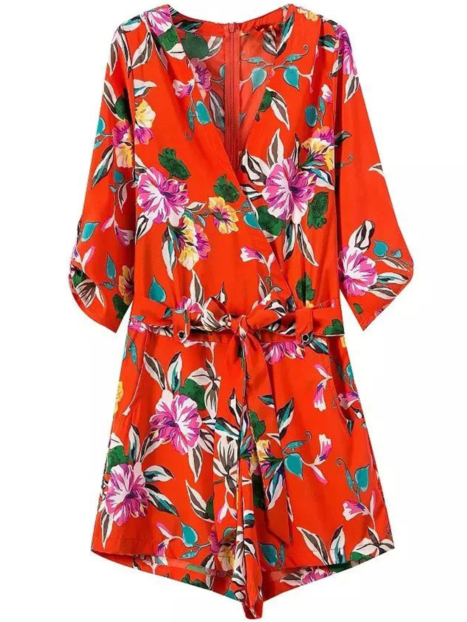 'Westley' Red Floral V-neck Romper
