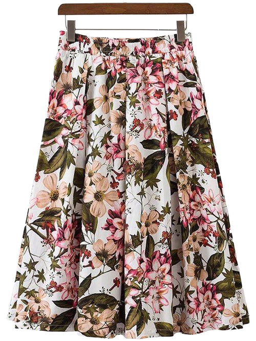 'Lena' Floral Long Flare Skirt