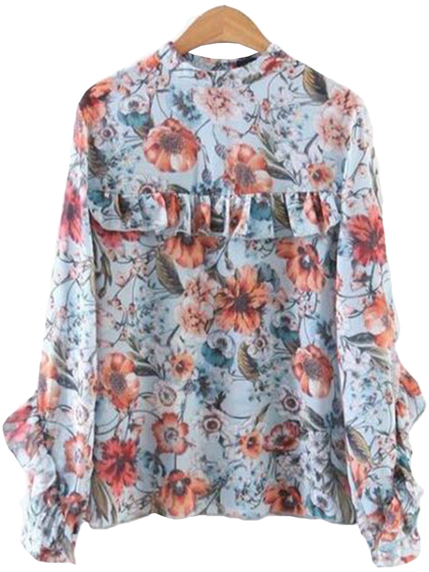 'Sally' Floral Frilly Blouse