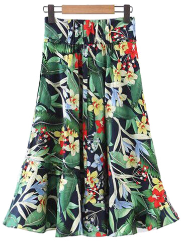 'Melanie' Bow Palm Print Long Flare Skirt