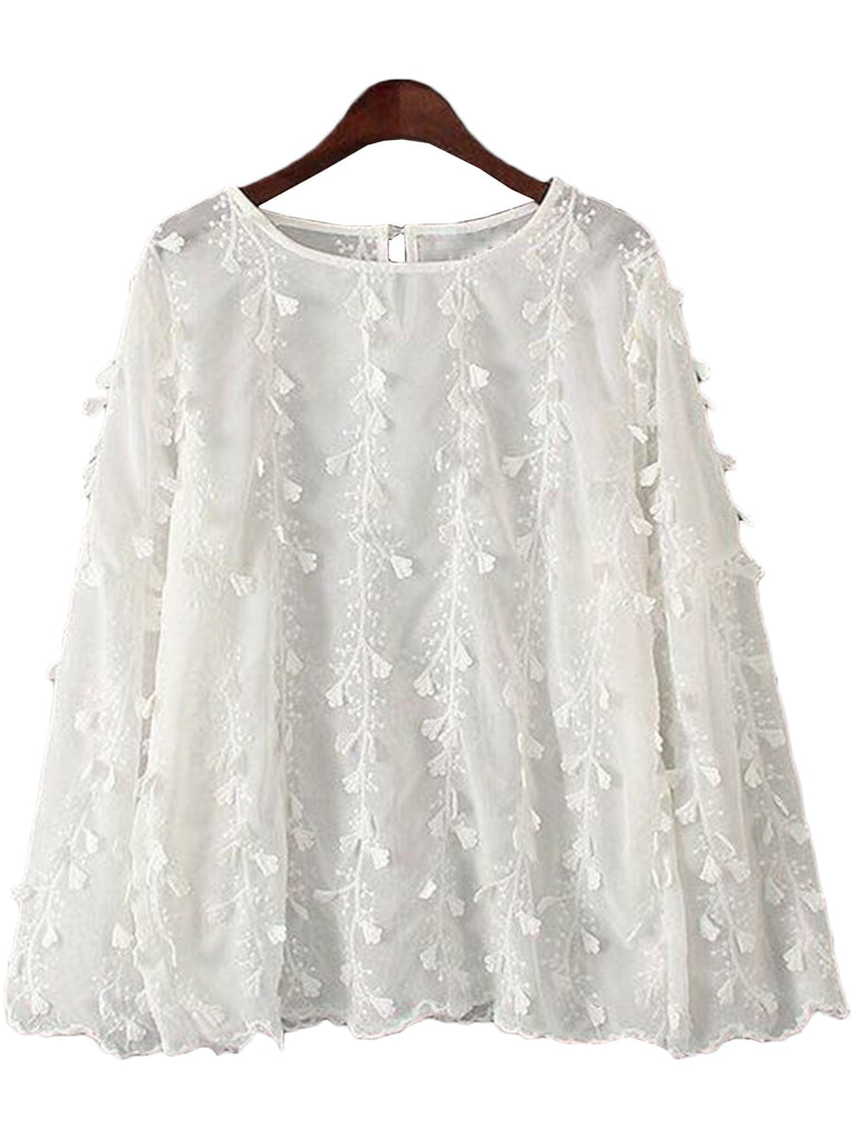 'Janet' White Lace Pattern Blouse