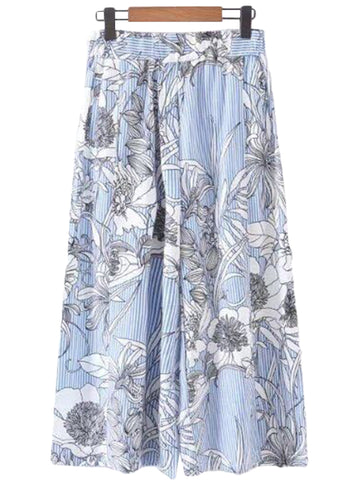 'Jimena' Blue Striped Floral Trousers