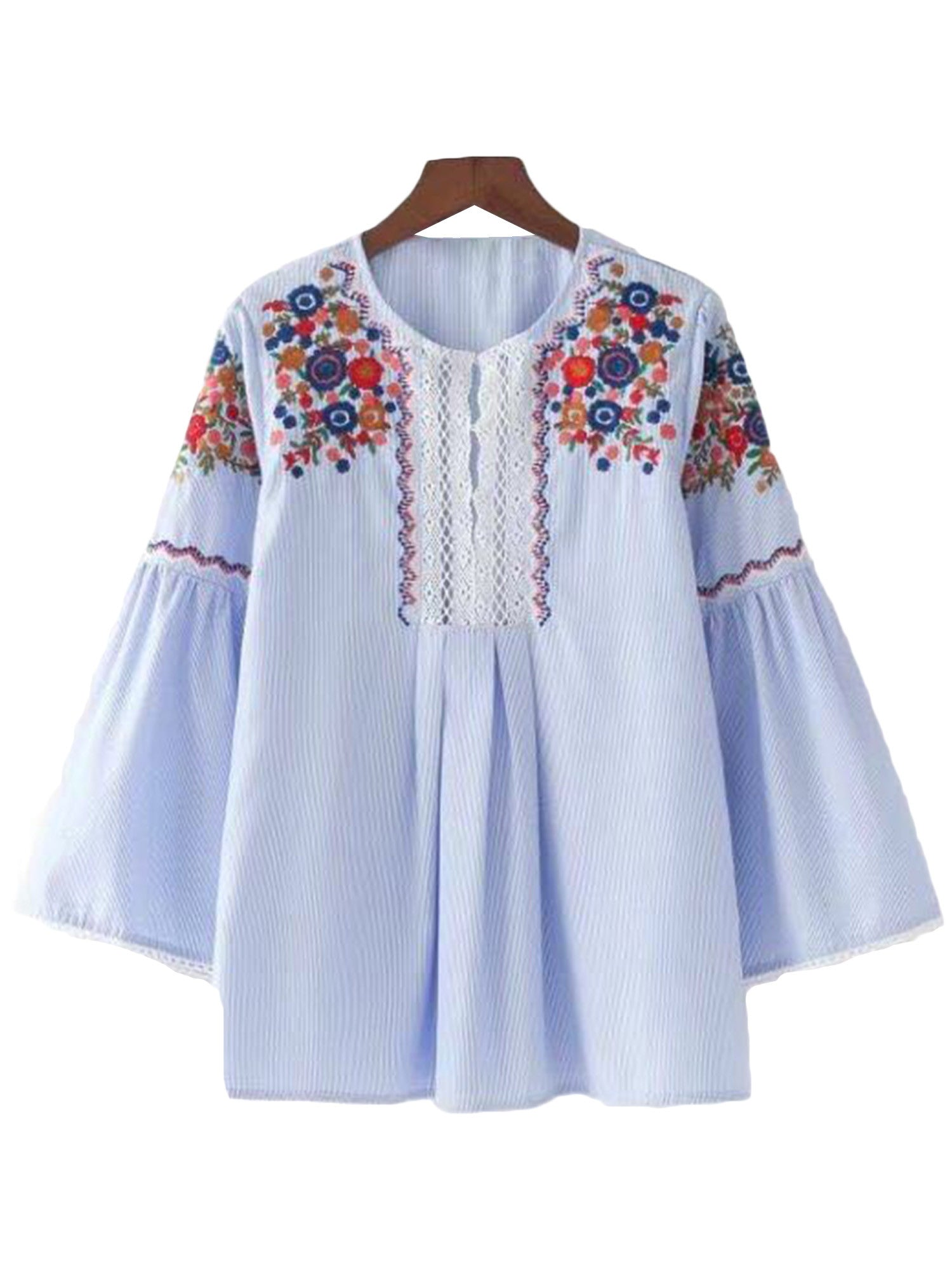'Nancy' Embroidered Fluted Sleeve Top