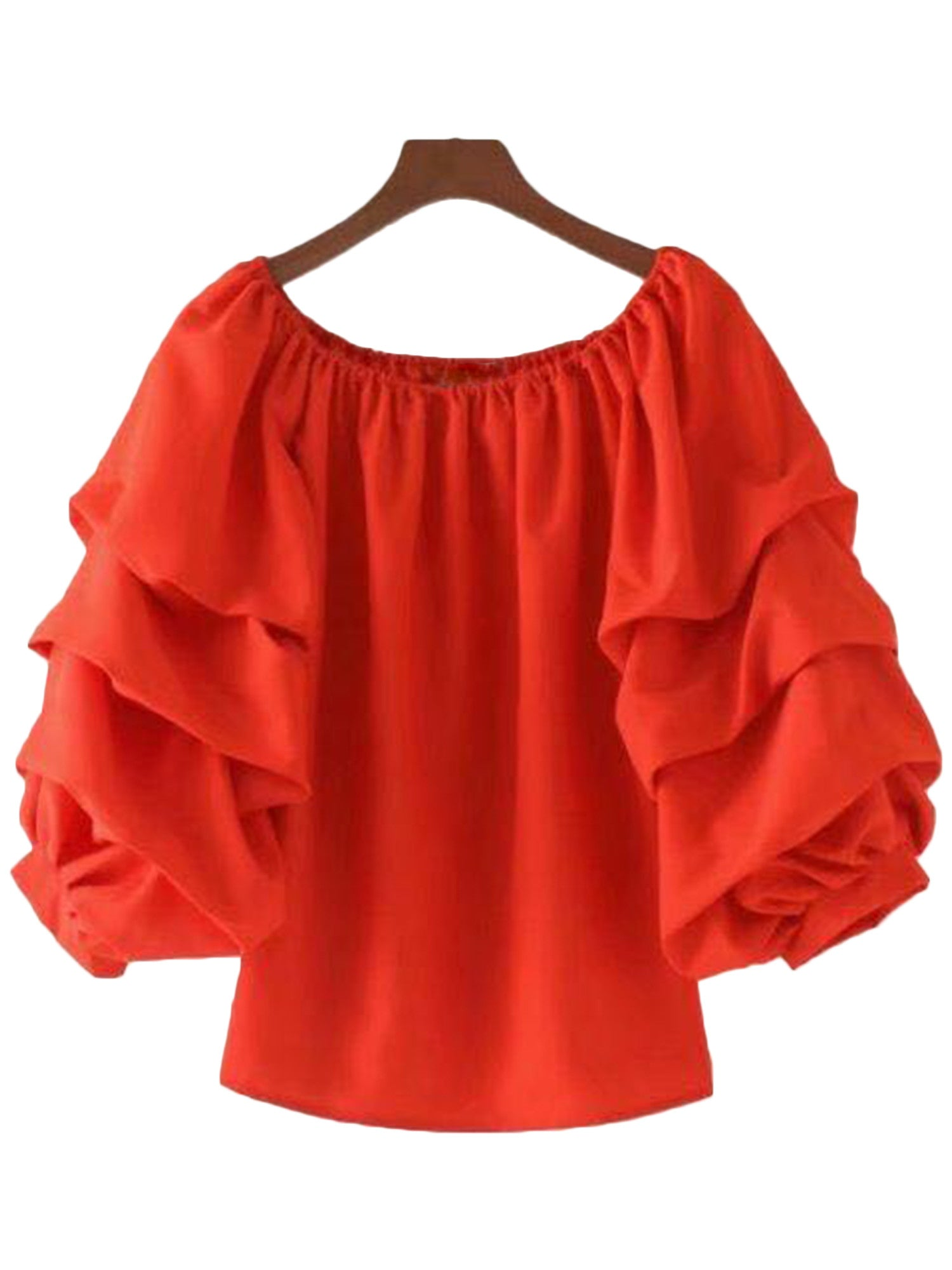 'Libby' Red Ruffled Sleeve Off Shoulder Top