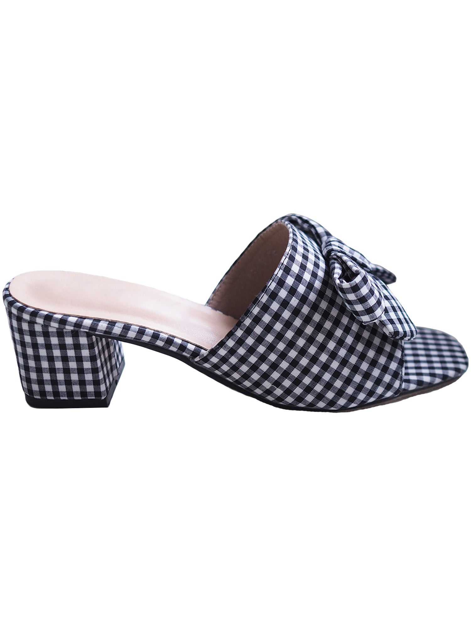'Valentina' Bow Plaid Slip-on Heels