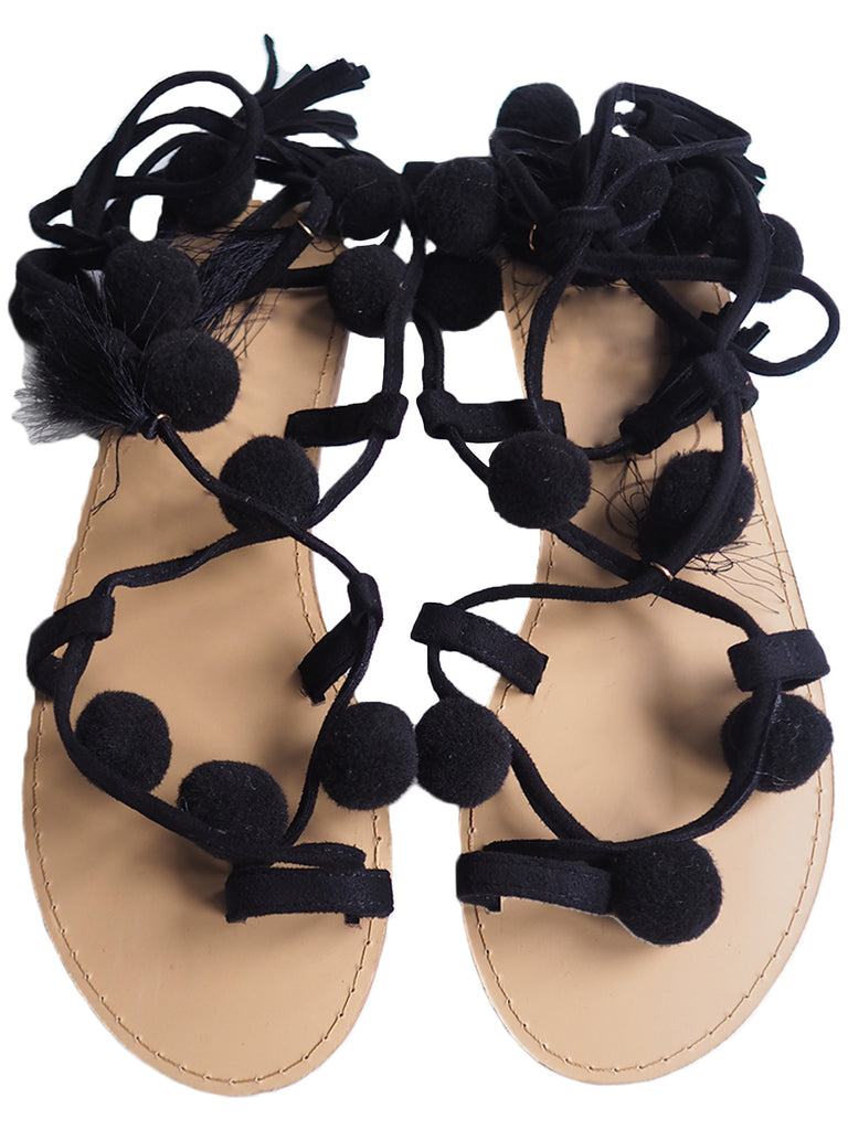 'Jonalyn' Lace Up Pom Pom Flats