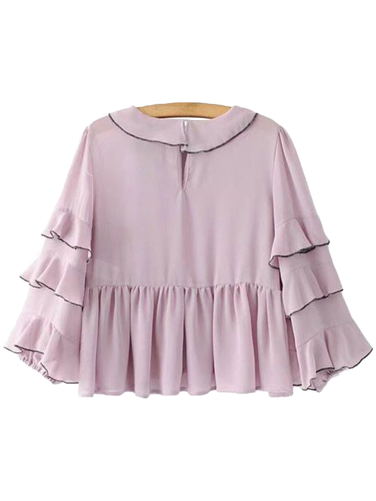 'Levi' Pink Ruffle Sleeve Dolly Peplum Top