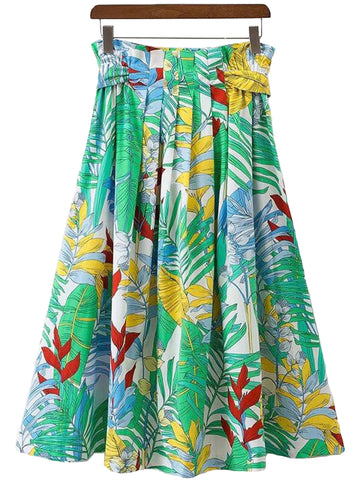 'Meadow' Green Palm Print Long Flare Skirt