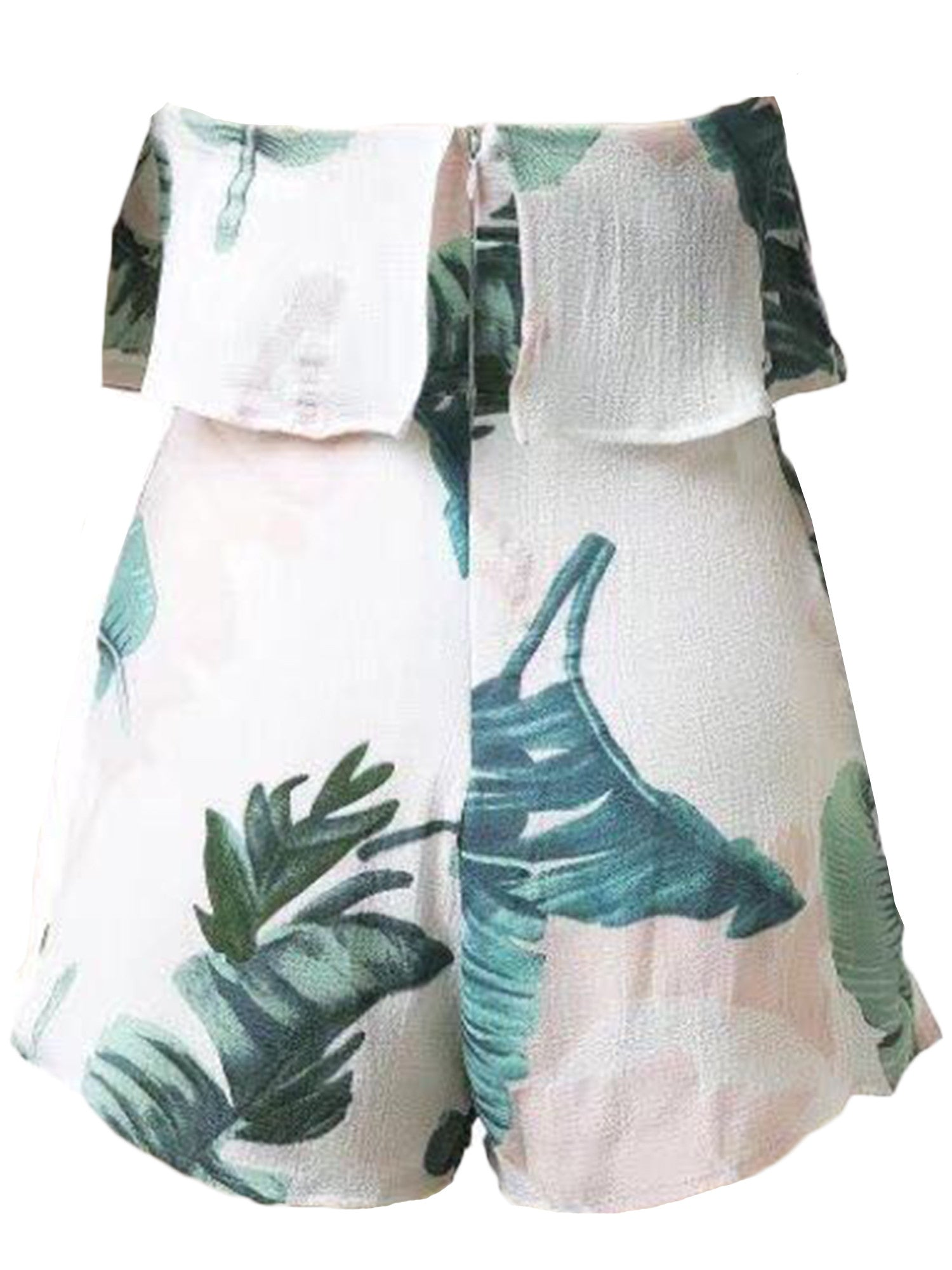 'Lila' Palm Print  Off Shoulder Romper