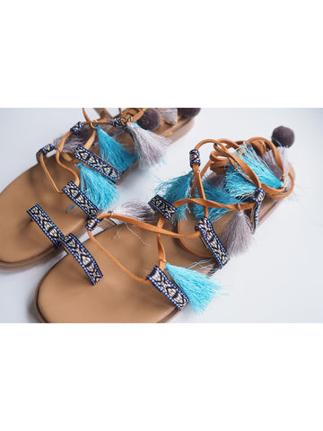 'Janet' Pom Pom Lace Up Sandals