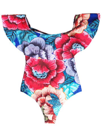 'Simone' Floral Ruffle Swimsuit