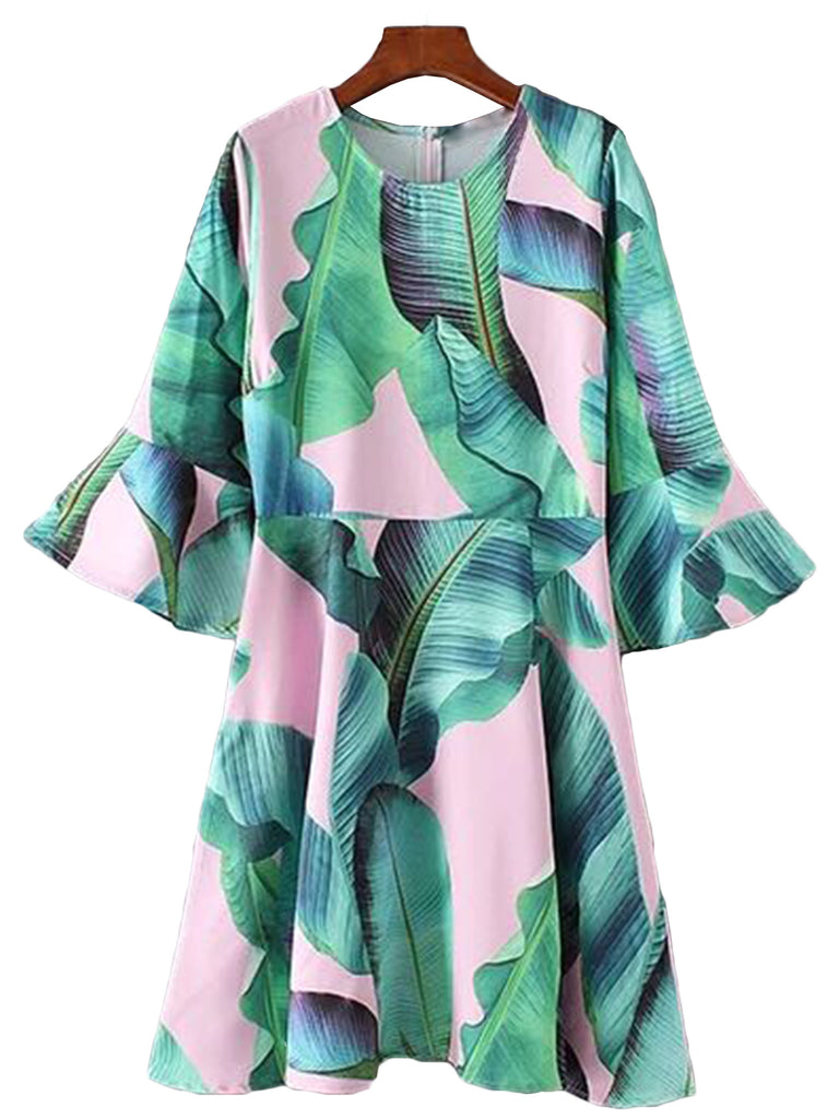 Goodnight Macaroon Palm Tree Print Dress