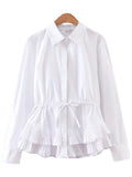 'Karly' White Drawstring Mock Shirt
