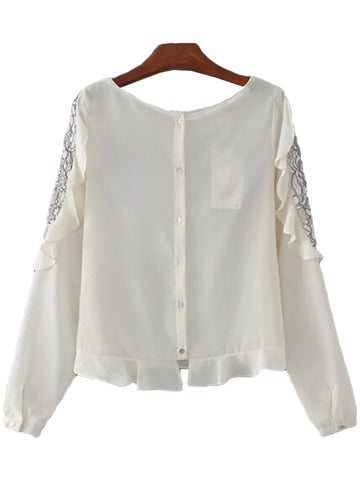 'Kamille' Lace Trimmed Sleeve Blouse